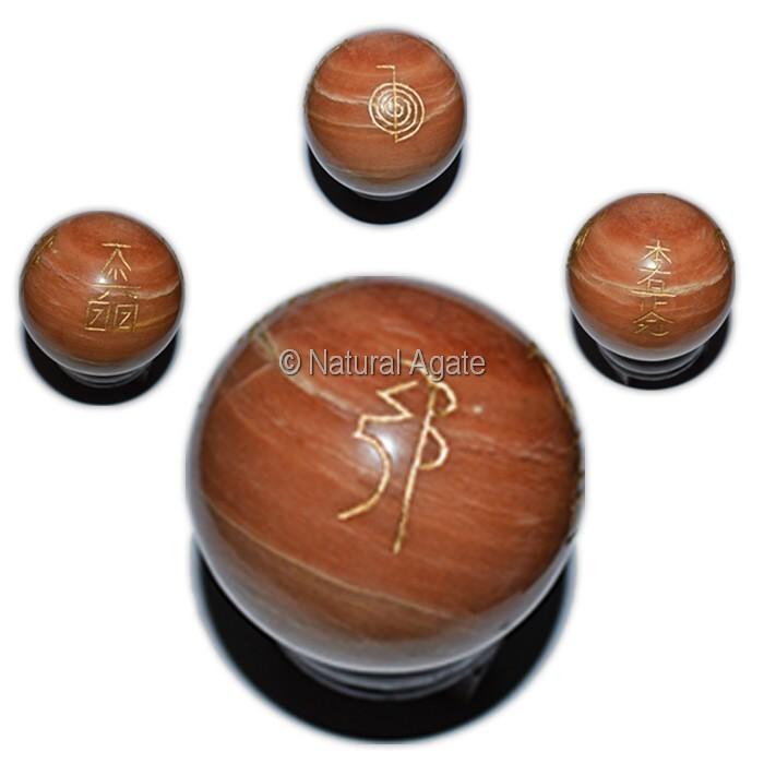 Peach Aventurine Usui Reiki Symbol Ball