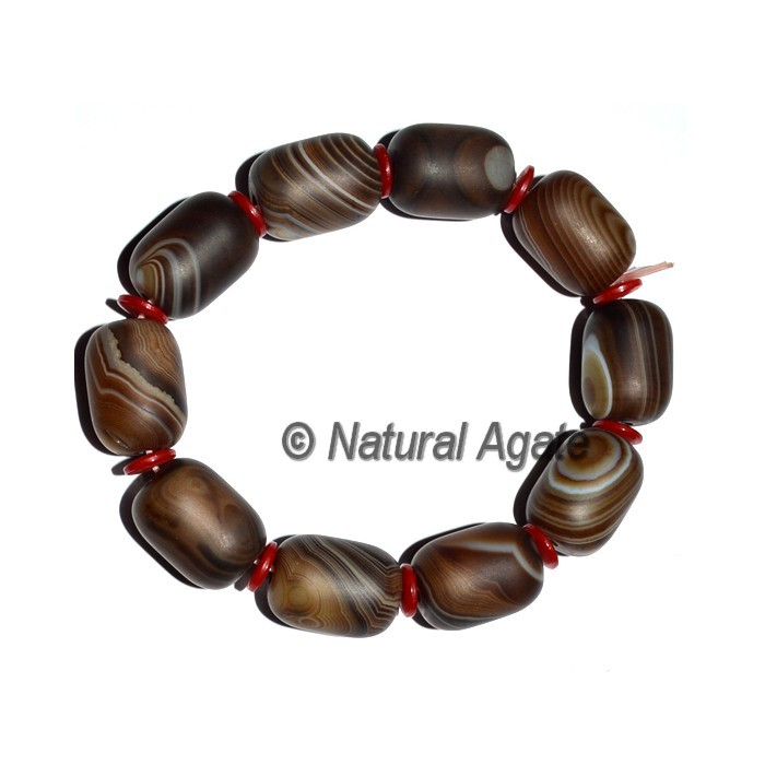 Brown Agate Banded Srum Shape Bracelets