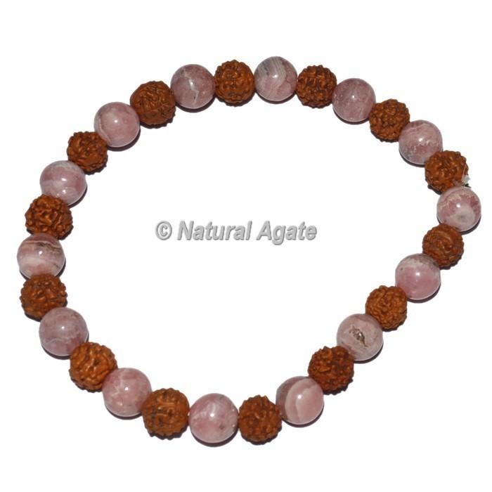Rudraksha Bracelets With Rhodochrosite