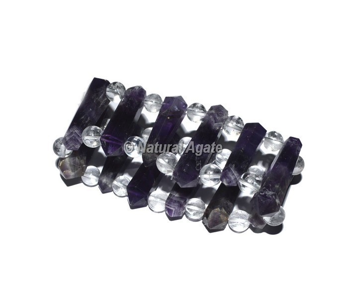 Amethyst Points With Crystal Beads Bracelets