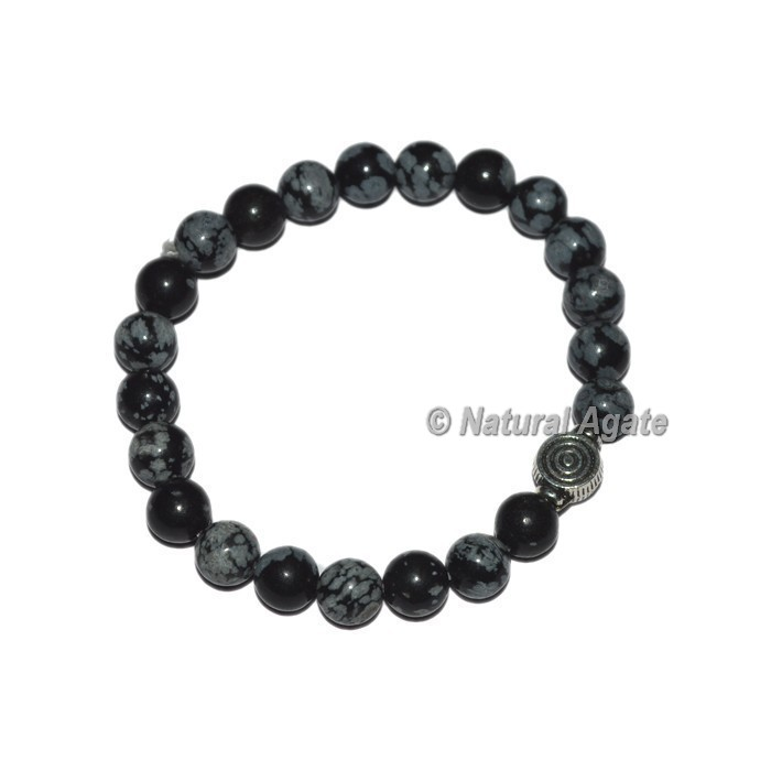Snowflake Obsidian Gemstone Bracelets with Chokoreiki
