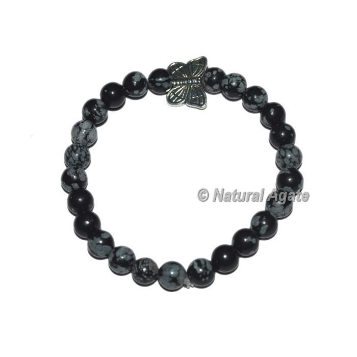 Snowflake Obsidian Gemstone Bracelets with Butterfly