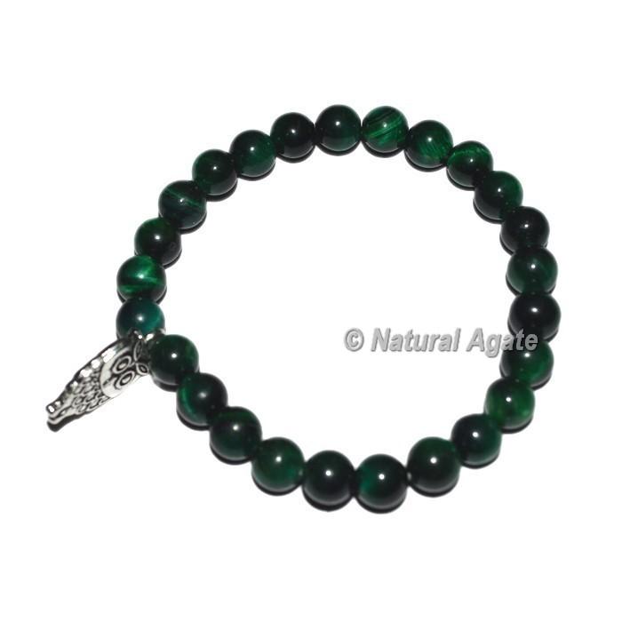 Green Tiger Gemstone Bracelets with Owl Charm