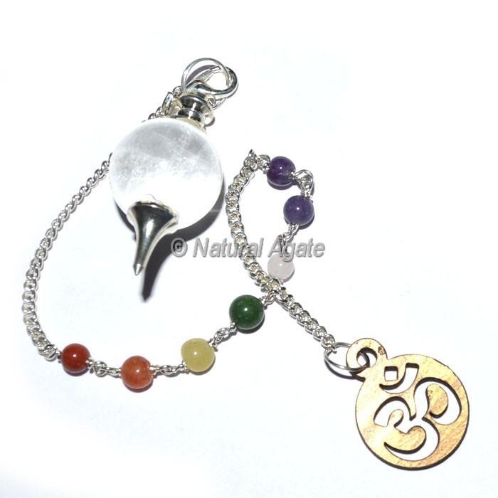Clear Quartz Ball Pendulums with Chakra Chain