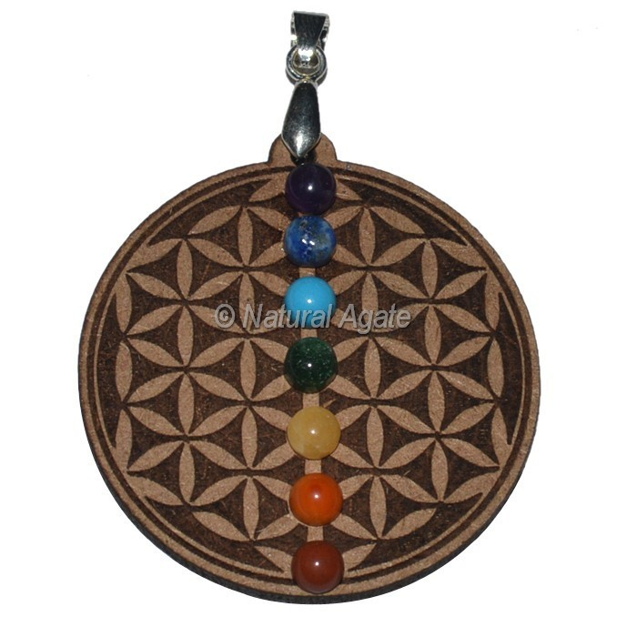 Flower Of Life 7 Chakra Wooden Pendants