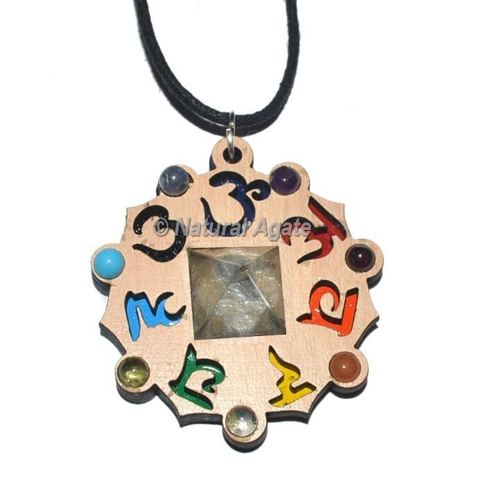 Seven Chakra Pendants With Crystal Pyramid