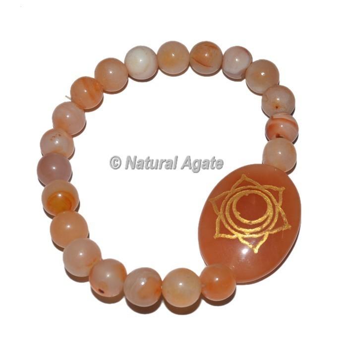 Spleen Chakra Symbol Engraved Oval Bracelets