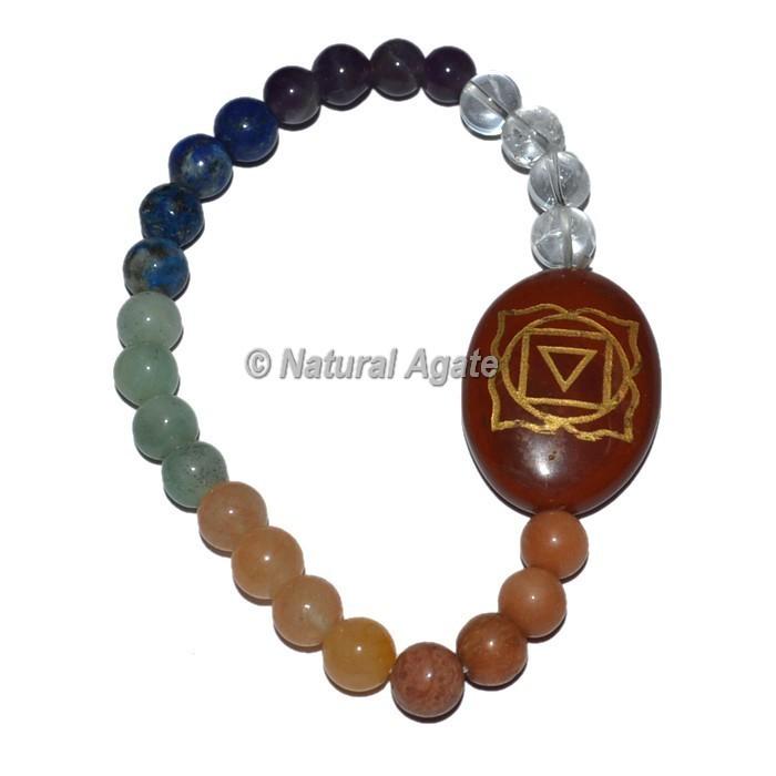 Root Chakra Symbol With Chakra Stone Oval Bracelets