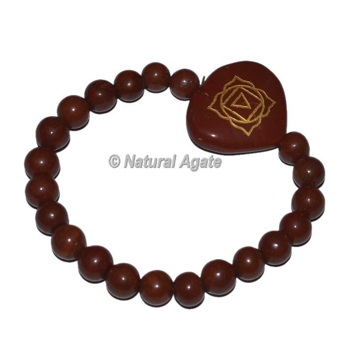 Root Chakra Symbol With Chakra Stone Heart Shape Bracelets
