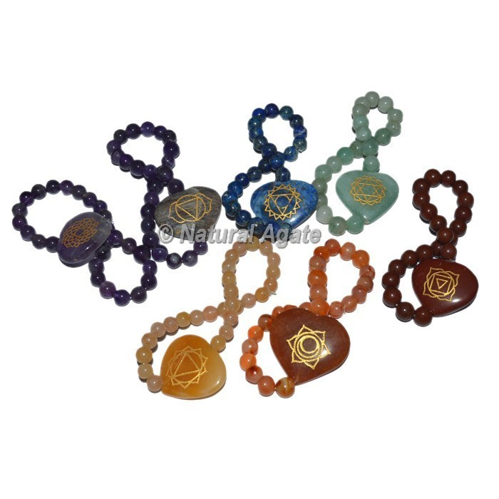Multi Chakra Symbol Engraved Chakra Set Heart Shape Bracelets