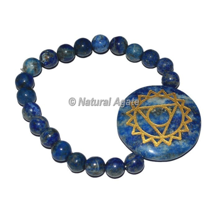 Throat Chakra Symbol Engraved Round Bracelets