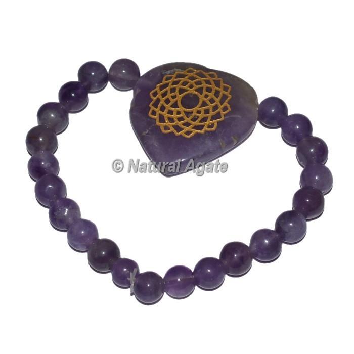 Crown Chakra Symbol Engraved Heart Shape Bracelets 7 Chakra Bracelets
