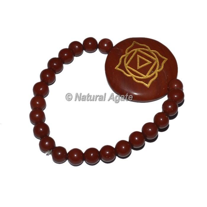 Root Chakra Symbol Engraved Heart Shape Bracelets 7 Chakra Bracelets