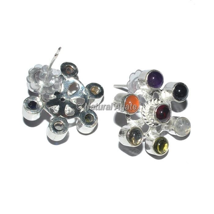 Flower Seven chakra Chakra Earrings
