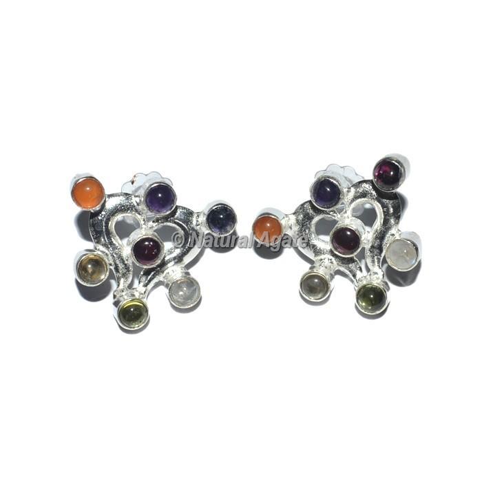Heart Shape Seven Chakra Earrings