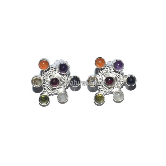 New Heart Shape Seven Chakra Earrings