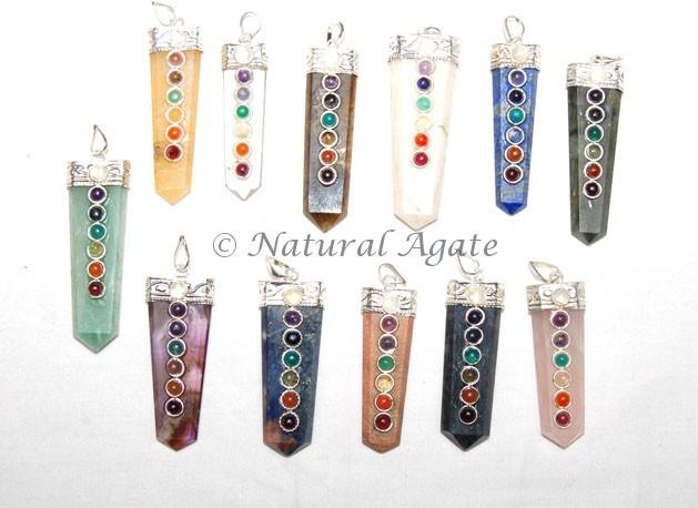 Gemstones Chakra Flat Pencil Pendant