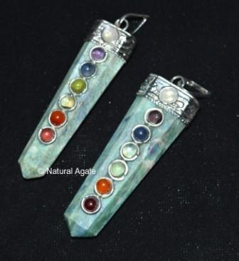 Ruby Zeosite Chakra Flate Pencil Pendants