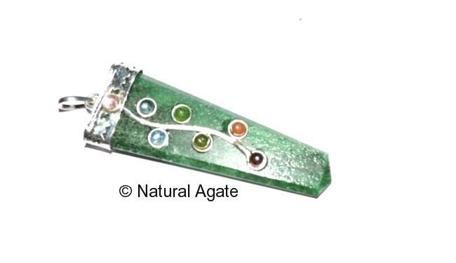Green Jade Flate Pencil Flower Pendants