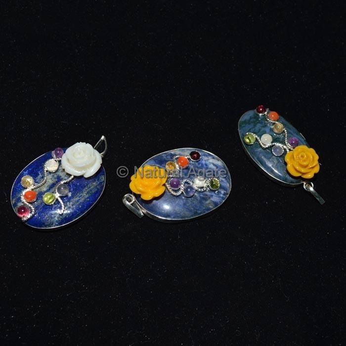 Lapis Lazuli Oval Chakra Pendant