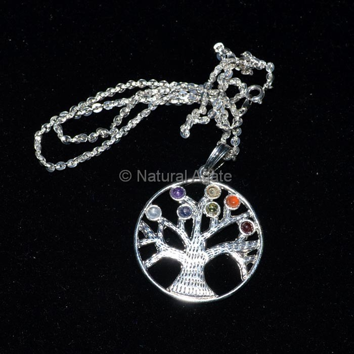 Flower of Life Tree Chakra Pendant With Chain