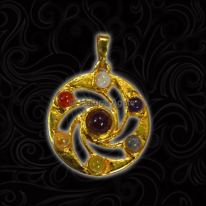 Brass Seven Chakra Pendant With Gold Plated