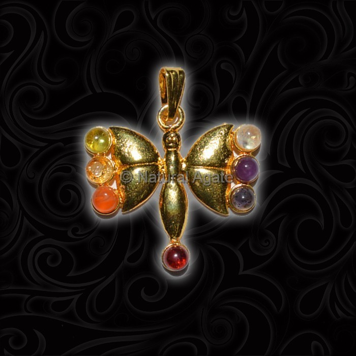Buterfly Seven Chakra Pendant