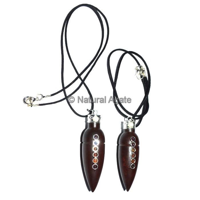 Chakra Wood Pendulum With Lather Cord