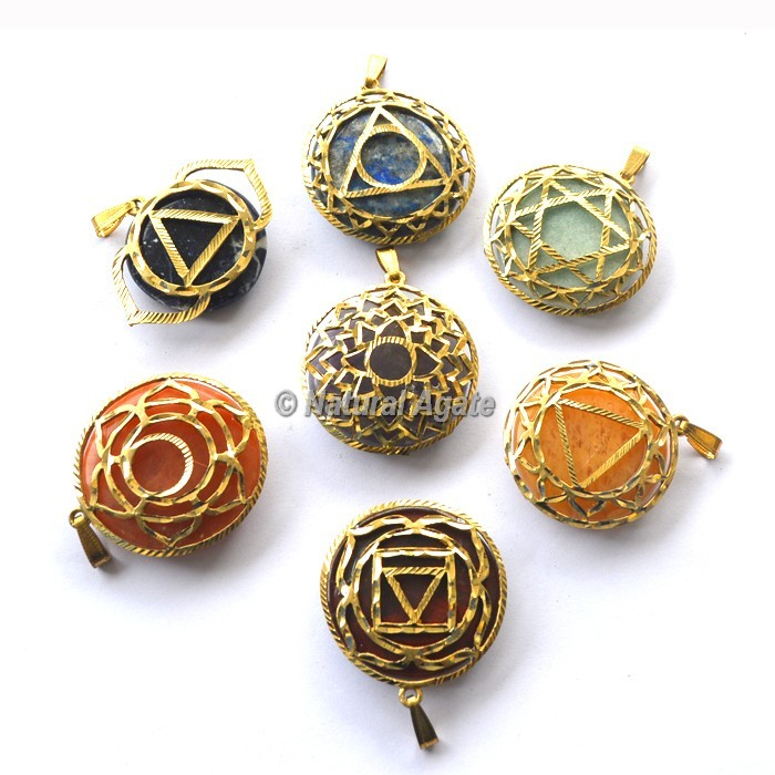Assorted Chakra Metal Pendants Disc Set