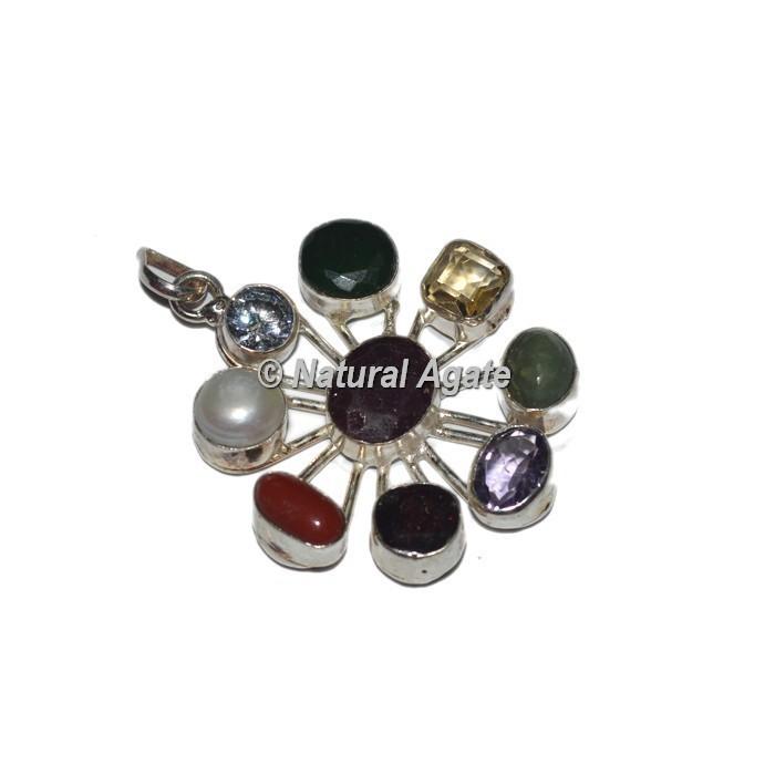 9 Stone Silver Pendants