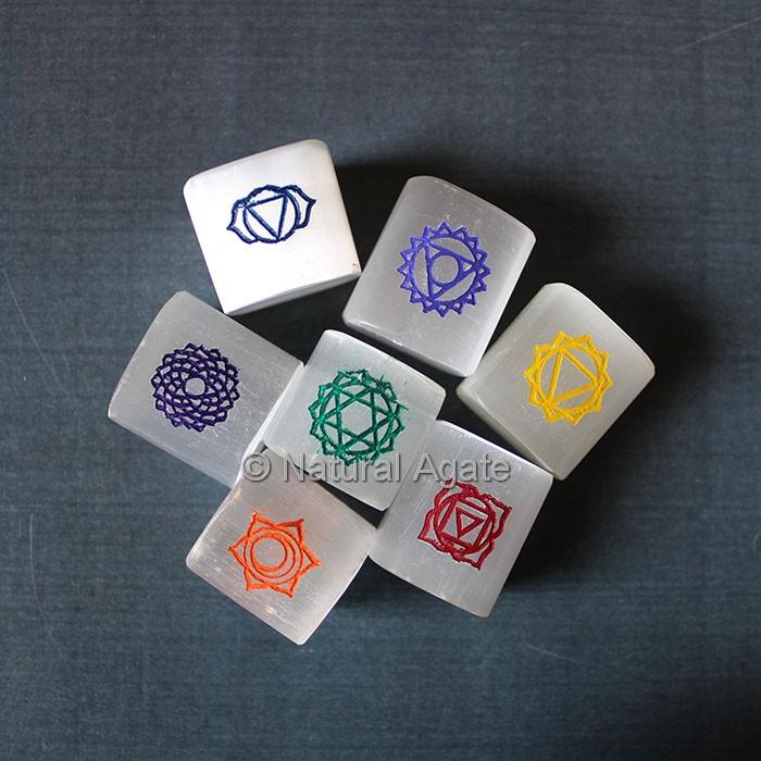 Chakra Symbols Engraved Selenite Stones