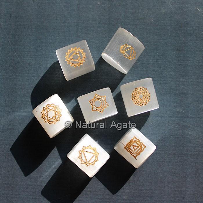 Chakra Symbols Golden Engraved Selenite Stones
