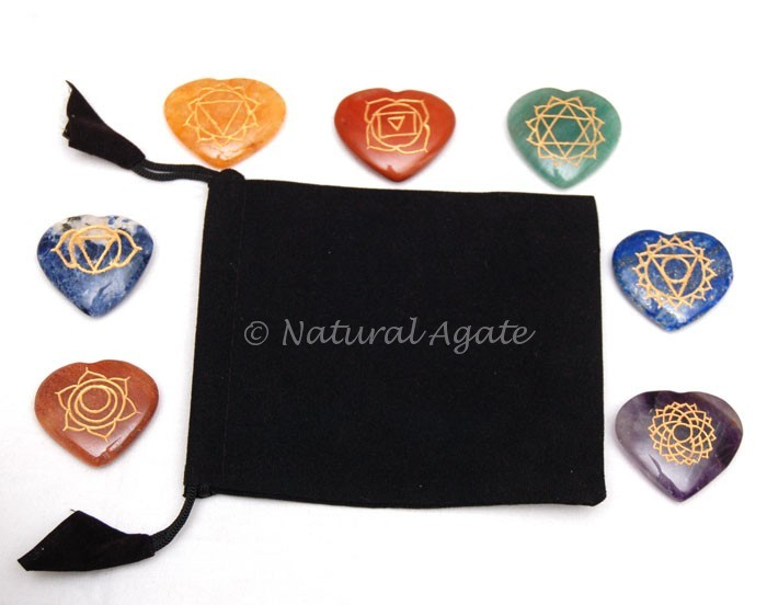 Engraved Chakra Hearts Sets