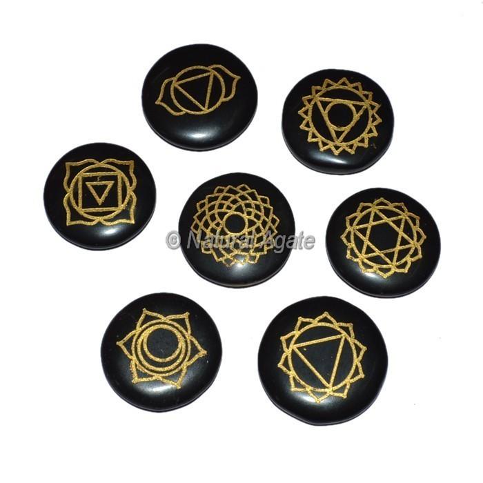 Black Agate Engraved Chakra Symbol Set