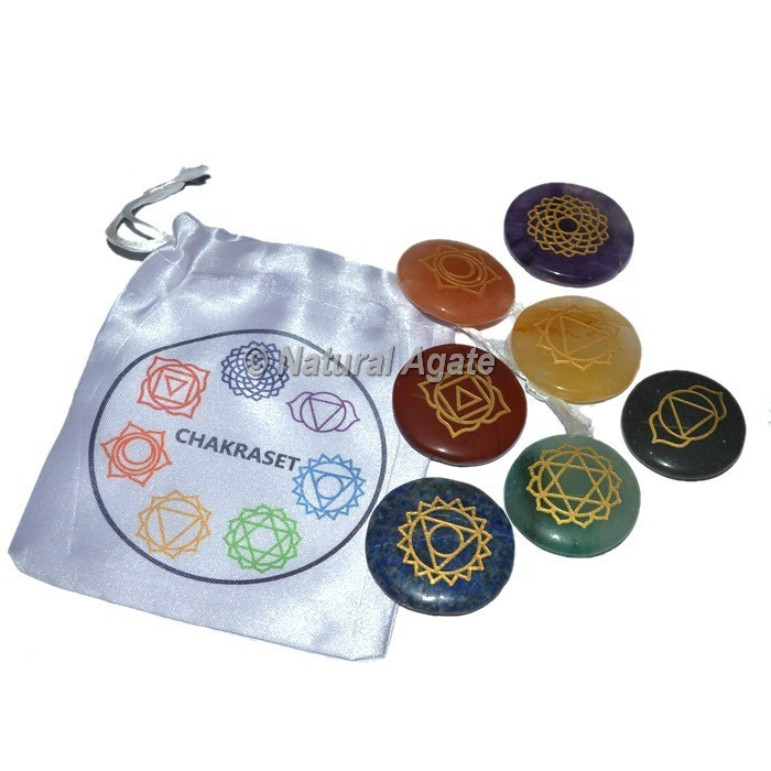7 Chakra Engraved Set With Chakra Pouch