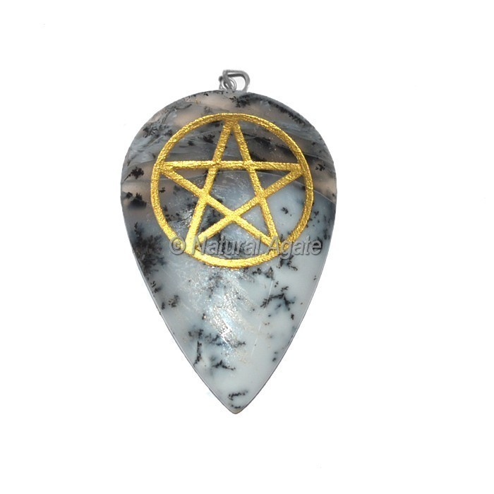 Dantric Agate Pentagram Pendant