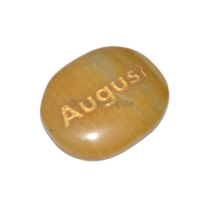 Yellow Jasper August Engraved Stone