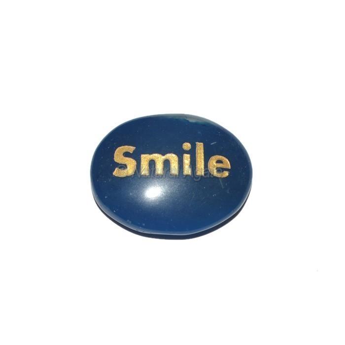 Blue Onyx Smile  Engraved Stone