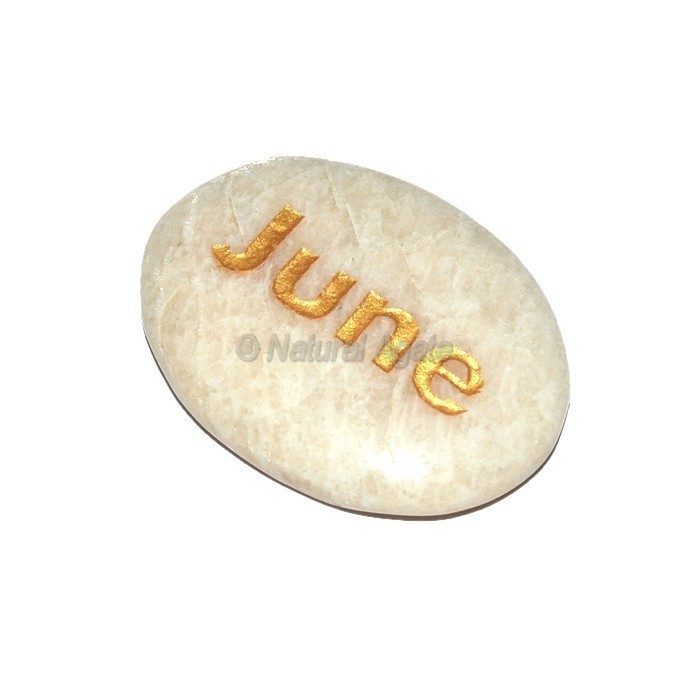 Moon Stone June Engraved Stone