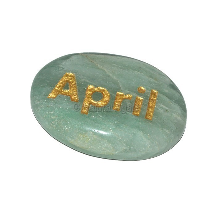 Green Aventurine  April Engraved Stone