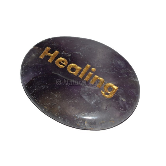 Amethyst Healing Engraved Stone