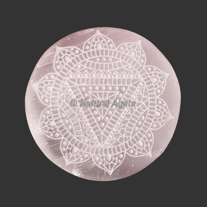 Engraved  Beautiful Selenite Coasters   Selenite Plates