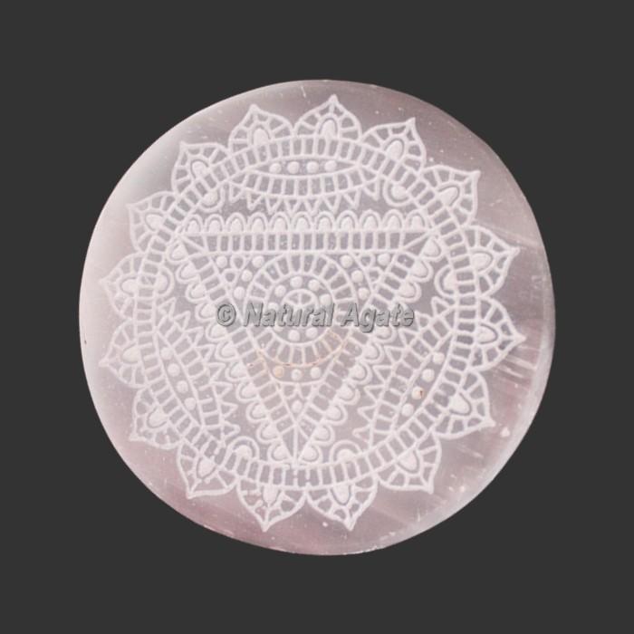 Engraved Selenite Coasters | Selenite Plates