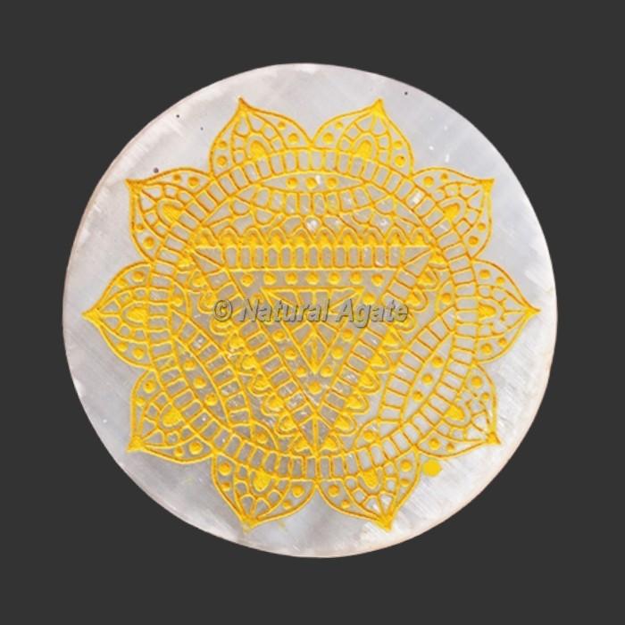 Engraved Solar Plexus Chakra Symbol Selenite Plate / Coaster
