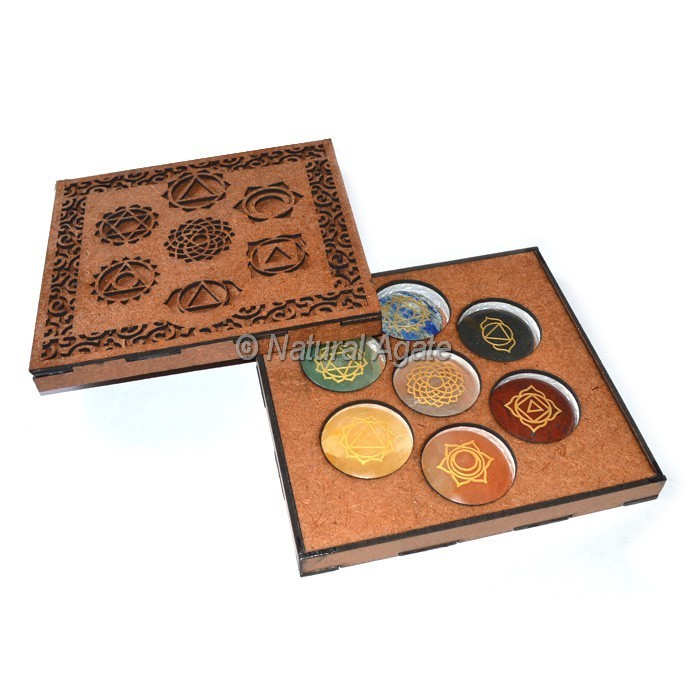 Seven Chakra With Engraved Chakra Set With Box