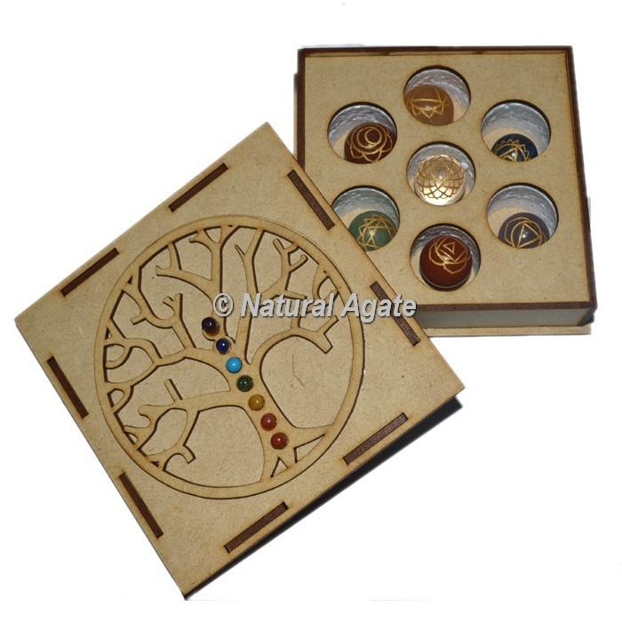 Engraved Chakra Ball Set with Chakra Stone Tree Of Life Gift Box