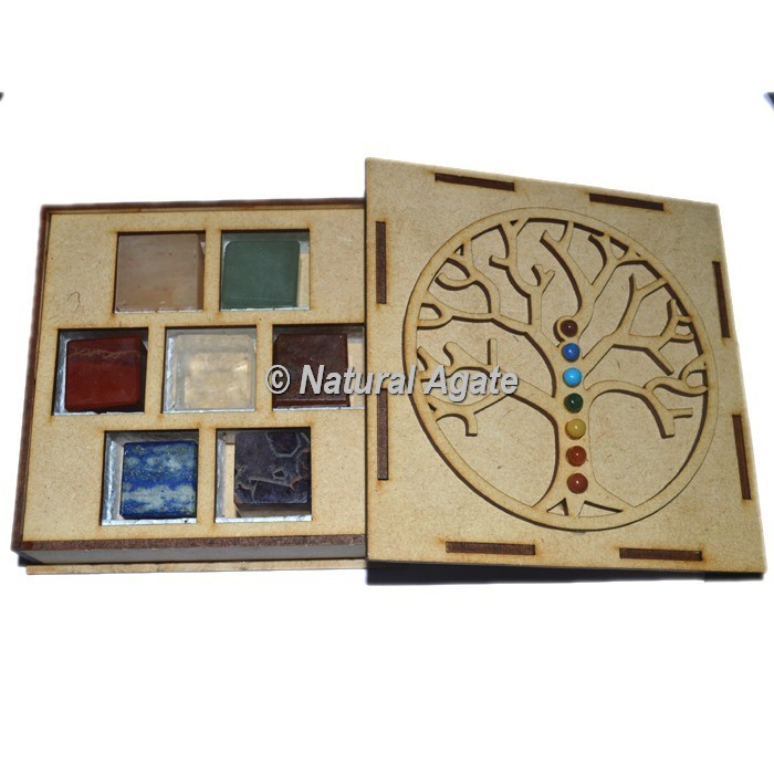 7 chakra Plain Cube Set with Chakra Stone Tree Of Life Gift Box