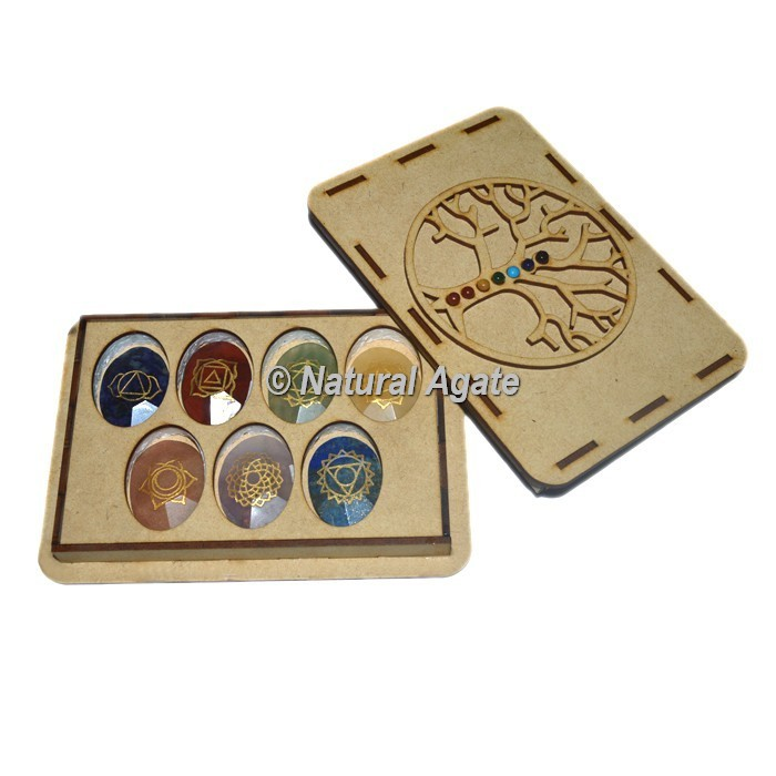 Engraved Chakra Faceted Oval Set with Chakra Stone Tree Of Life Gift Box