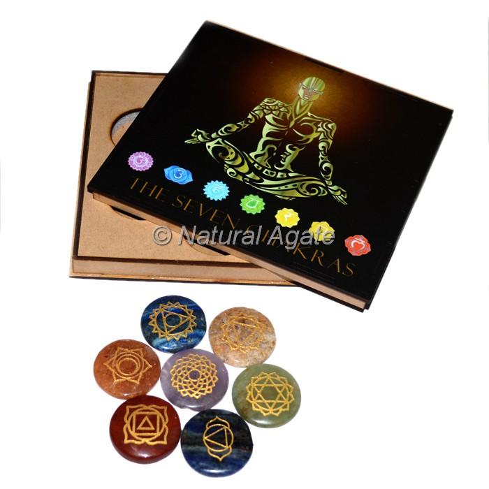 7 Chakra Set with Meditated Pose Printed Wood Gift Box