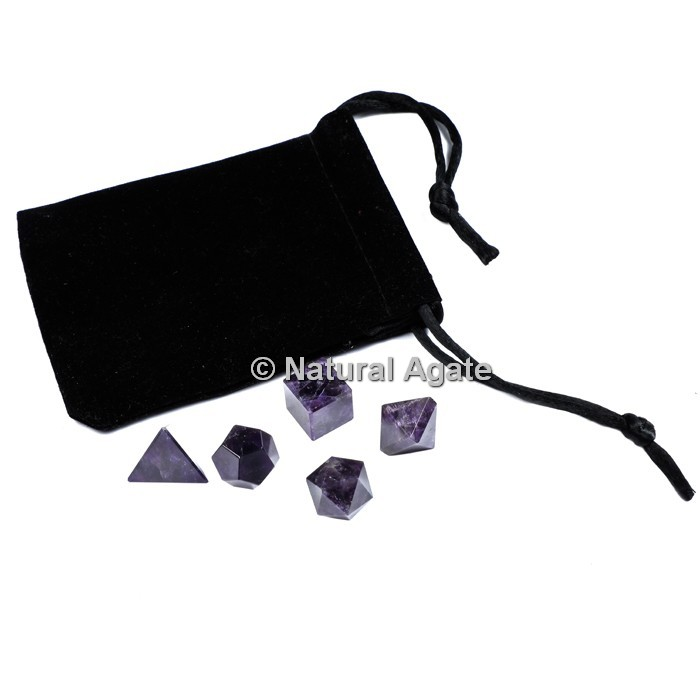 Amethyst Sacred Geometry Set With Gift Pouch
